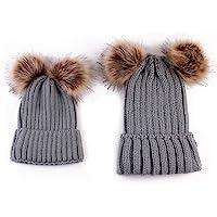oenbopo 2 件亲子帽冬季保暖衣,母婴和婴儿家庭匹配针织帽