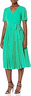 Donna Morgan 女式泡泡绉纱飘边袖 V 领褶皱连衣裙