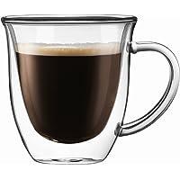 JoyJolt Serene 双层绝缘玻璃 7.8 盎司(约 209.8 克)双层咖啡和茶杯带手柄(2 件套)