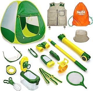 14 件儿童捕虫器套装,幼儿户外探险家套装,儿童探险野营装备玩具套装,带帐篷、放大镜、双筒望远镜、潜望镜、捕虫工具、科学套件,适合 3 岁以上儿童