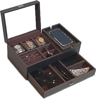 Amiglo 男式 Valet Box 床头柜收纳袋 配有充电站、抽屉托盘、珠宝配件手表梳妆盒、碳纤维设计,PU 皮棕色