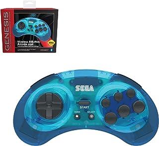 Retro-Bit 官方 Sega Genesis 蓝牙控制器 8 键街机垫适用于 Nintendo Switch、Android、PC、Mac、Steam (透明蓝色)