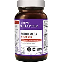 New Chapter Wholemega 鱼油补品-带有Omega-3 +维生素D3 +虾青素+可持续捕获的野生阿拉斯…