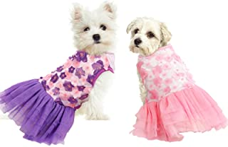 ASENKU 2 件套狗狗连衣裙可爱花朵蓬裙,适合小型中型犬女孩和猫的婚礼公主裙,粉色紫罗兰桃花宠物服装服装