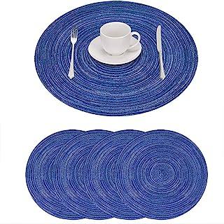 GIVERARE 餐垫 4 件套,圆形耐热编织乙烯基餐垫,15 英寸(约 38.1 厘米)防滑可水洗PVC桌垫,易清洁优质塑料桌垫,餐桌用桌子,厨房桌(蓝色)