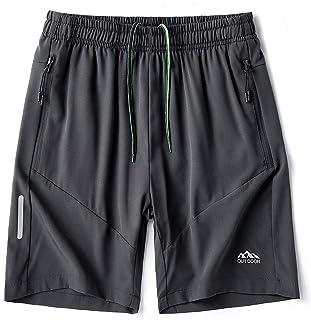 YAWHO 男式健身跑步短裤运动健身训练快干运动短裤带拉链口袋