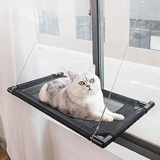 PeoTRIOL 猫窗吊床,猫窗床栖息地座椅,适用于宠物小猫或大猫的日光浴 4 个吸盘持久耐用坚固的猫架,无需滑动,坐垫可承受 20 磅以上的猫咪