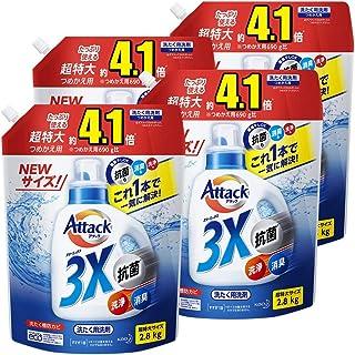 亚马逊限定品牌][盒装销售] Dekaraku 尺寸 Attack 3X 超特大 替换装 2800克×4个 (*・*・清洁只需这一支即可解决!)