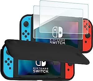 ProCase Nintendo Switch 翻盖保护套,带 2 件装钢化玻璃屏幕保护膜,超薄保护翻盖保护套,带磁性可拆卸前盖,适用于 Nintendo Switch 2017 - 黑色