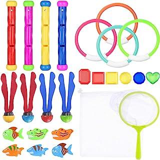Toyvian 26 件水下游泳潜水泳池玩具潜水环、潜水棒、水草、钓鱼套件、海盗宝藏和存储袋套装水下游戏训练礼物送给男孩女孩