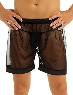 Yanarno 男式超薄透明网眼透视宽松休闲丁字裤平角短裤内裤