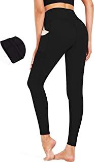 Fengbay 高腰羊毛衬里打底裤保暖瑜伽裤带口袋健身裤黑色