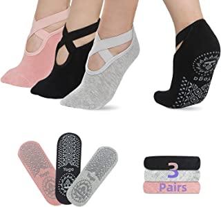 防滑瑜伽袜带夹适合女士,非常适合普拉提、芭蕾舞、舞蹈、孕妇、赤脚锻炼、家庭和*拖鞋袜。