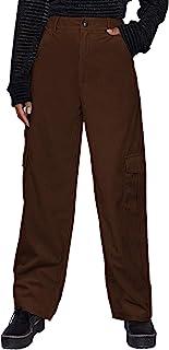 SOLY HUX 女式休闲高腰口袋侧灯芯绒工装裤