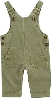 Kuriozud 幼童女婴男孩灯芯绒整体纯色背带裤背带裤,带 2 个底部口袋