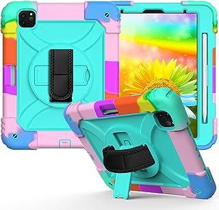 Simicoo iPad Air 4 10.9 保护套,iPad Air 4 10.9 儿童保护套,旋转全覆盖双层硅胶坚固耐用保护套,带支架铅笔架肩带,适用于 iPad Air * 4 代(彩色*)