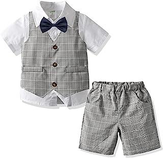 Kgurtagh 男婴绅士套装,T 恤和裤子,蝴蝶结和背带(1-5T)