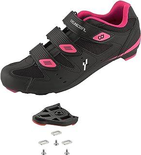 CyclingDeal 自行车公路自行车通用鞋钉安装女式自行车鞋黑色 9 度浮动外观 ARC Delta 兼容钉鞋 兼容 Peloton 室内自行车踏板