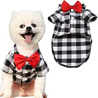 ABRRLO 狗狗衬衫 适合小型中型犬 男孩 格子 宠物衣服 温柔狗 西部衬衫 小狗猫 婚礼服装 带蝴蝶结(白色,大号)