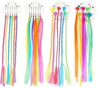 Hifot 24 件尼龙彩色接发夹,女孩时尚发夹彩虹假发,生日派对礼品万圣节发饰
