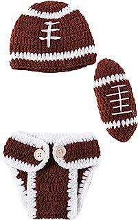 新生儿照片道具足球运动员摄影服装针织帽裤子球有趣可爱男孩女孩(0-3 个月)棕色