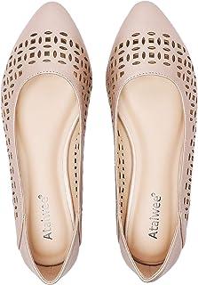 Ataiwee 女式宽平底鞋 – 一脚蹬麂皮休闲尖头舒适镂空图案芭蕾平底鞋。
