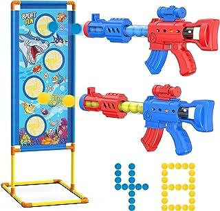 射击游戏玩具适合 5 6 7 8 9 10 岁以上男孩、2 个波普尔空气玩具枪和 48 个泡沫球和站立射击目标与 Nerf 枪兼容,生日圣诞节万圣节狂欢节儿童礼物