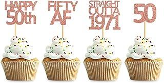 Keaziu 48 件装玫瑰金直出 1971 纸杯蛋糕装饰快乐 50 岁生日派对装饰