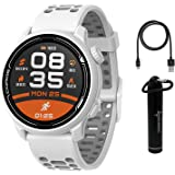 Coros PACE 2 高级 GPS 运动手表,白色,带硅胶表带、心率监测器、30 小时全 GPS 电池、气压计、AN…