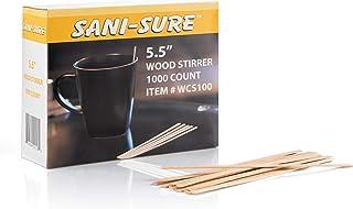 SANI-SURE 木制咖啡搅拌棒,5.5 英寸(约 13.97 厘米),一次性环保搅拌棒,适用于热饮和冷饮品,方端比标准木更坚固、更厚