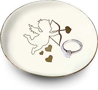 陶瓷丘比特戒指支架白色和金色装饰   戒指、手链、珠宝、饰品托盘 / 盘子   非常适合结婚戒指、耳环、钻石戒指和订婚戒指支架   办公室和家居装饰