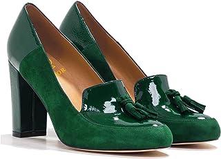 LEHOOR 女式粗跟高跟流苏浅口圆头一脚蹬正装乐福鞋流苏麂皮*皮革拼接女士办公室4 – 13 M 美国