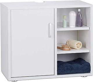 Relaxdays 洗手台柜,单门,浴室柜,3层,卫生间存储柜 51 x 60 x 32 厘米 白色 Standard 10023723_49