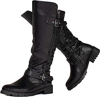 RF ROOM OF FASHION 女士带扣及膝长筒靴隐藏口袋(中宽筒)