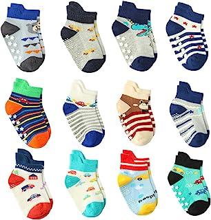 12 双装男婴袜防滑带握把,幼儿男孩防滑袜