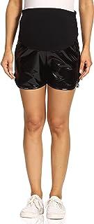 Kegiani 女式孕妇金属短裤孕妇休闲闪亮裤瑜伽短裤工装裤带口袋