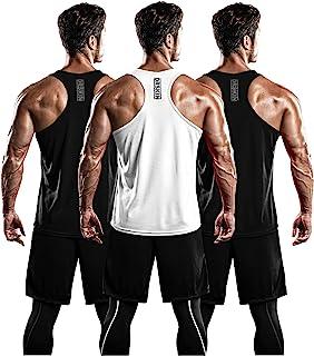 DRSKIN 男式 3 件装干爽贴合 Y 型背部肌肉背心网眼无袖健身房*训练运动锻炼酷炫衬衫