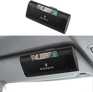 JobssportCompitable with Maserati 汽车遮阳眼镜盒太阳镜架眼镜收纳盒保护盒眼镜夹收纳器汽车配件