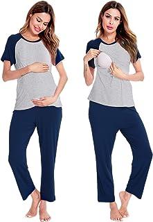 SWOMOG 女式孕妇护理睡衣套装短袖哺乳睡衣双层可调节*睡衣套装