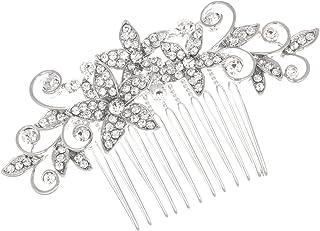 SAMKY 新娘伴娘花朵女孩水钻舞会派对婚礼头饰梳 T1049