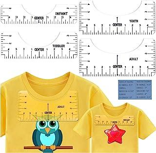 T 恤尺子乙烯基对准指南,热压机指南尺,T 恤对齐 HTV 工具,用于升华 T 恤设计,工艺尺带指南工具和服装尺寸图卡(4 件装)