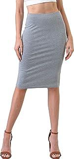 CULTURE CODE 女式中长裙 – 基本款纯色及膝铅笔高腰紧身弹力侧开叉下装工作办公室工作