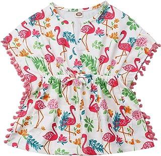 WULAOULALA 幼儿女婴游泳罩衫豹纹/白色流苏太阳裙绒球沙滩泳装罩衫夏季服装
