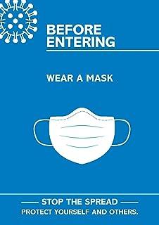 "SECO Coronavirus Essential 海报 - ""进食之前佩戴面具"",A4,蓝色和白色"