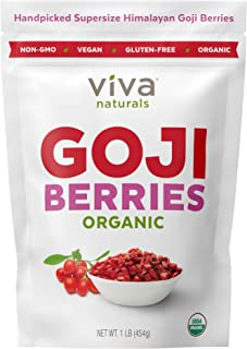 Viva Naturals 枸杞干,优质喜马拉雅浆果,非常适合烘焙、茶、什锦干果等,1 磅(454克)