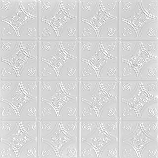 Shanko SKPC209-wh-24x24-D-12 小尖头印花金属嵌入式锡天花板瓷砖(48 平方英尺),白色