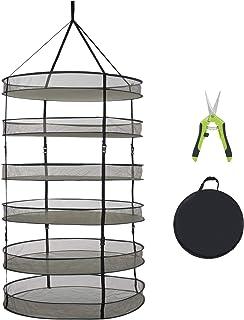 TERRADISE 3 英尺干燥架,6 层草本干燥架网,可折叠悬挂网眼干燥网,带花园修剪剪刀,*种子芽水培植物蘑菇折叠干燥架