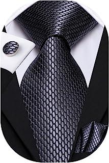 Hi-Tie 男士经典黑色灰色领带袖扣和口袋方形领带套装