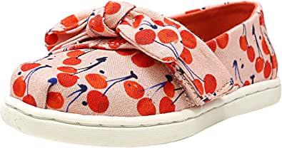 TOMS 儿童 10009918 Alpargata-K Coral Pink Cherry Cherie Print/Bow 7 M US Toddler
