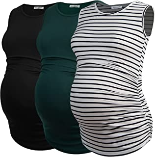 Smallshow 女式孕妇背心无袖褶皱孕妇装 3 件装